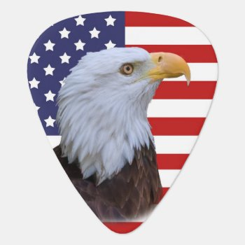Patriotic  Eagle And Usa Flag  Customizable Guitar Pick by GrandmaDee at Zazzle