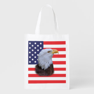 Patriotic  Eagle and USA Flag  Customizable Reusable Grocery Bag