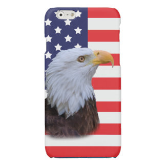 Patriotic  Eagle and USA Flag Glossy iPhone 6 Case