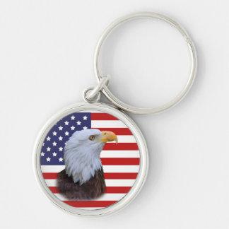 Patriotic  Eagle and USA Flag Keychain