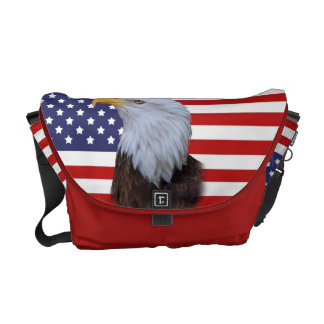 Patriotic  Eagle and USA Flag Messenger Bag