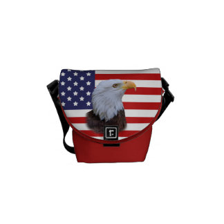 Patriotic  Eagle and USA Flag Mini Messenger Bag