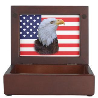 Patriotic  Eagle and USA Flag Memory Box