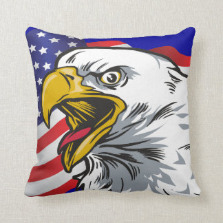 Patriotic Eagle and USA Flag - SRF Throw Pillow