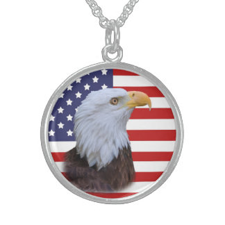 Patriotic  Eagle and USA Flag Sterling Silver Necklace
