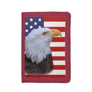 Patriotic  Eagle and USA Flag Tri-fold Wallets