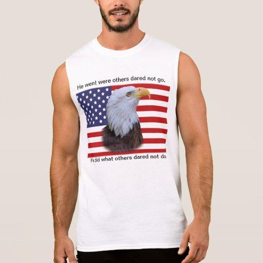 Patriotic  Eagle and USA Flag Sleeveless Shirts