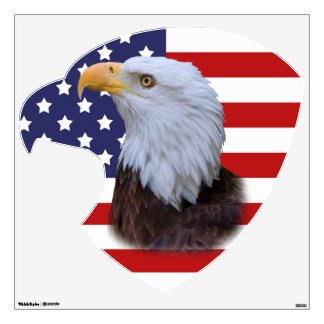 Patriotic  Eagle and USA Flag Wall Decal