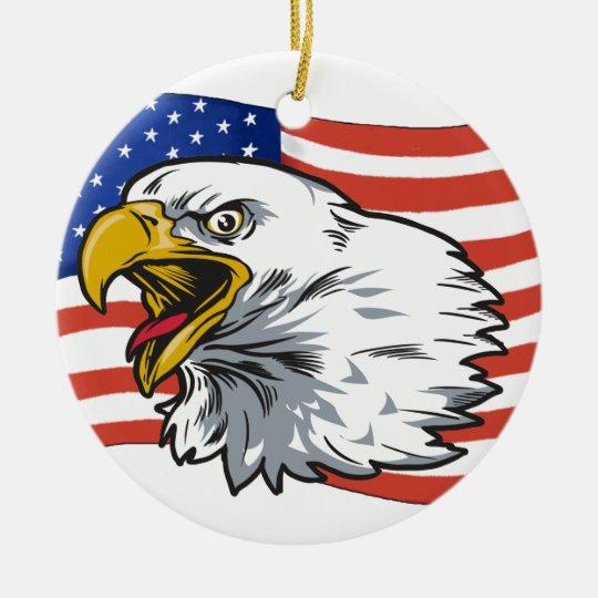 Patriotic Eagle Ceramic Ornament