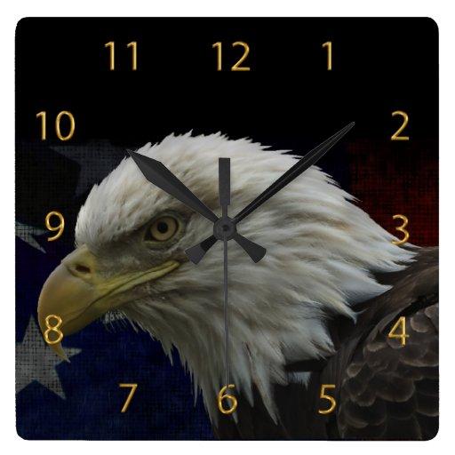 Patriotic Eagle & Flag Clocks