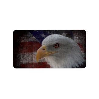 Patriotic Eagle & Flag Label