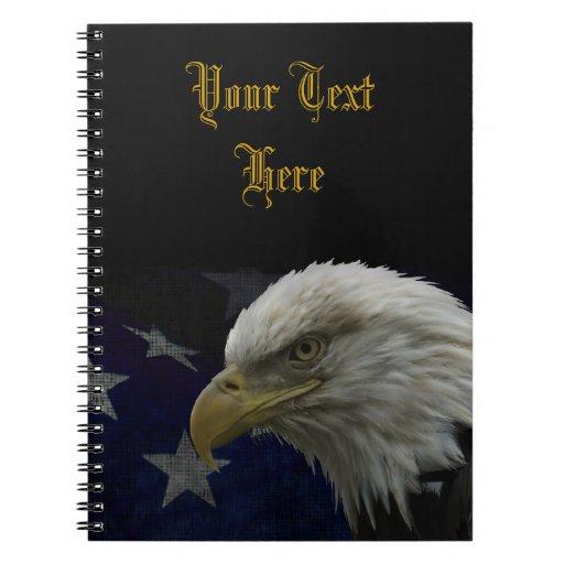 Patriotic Eagle & Flag Spiral Note Book