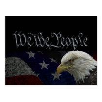 Patriotic Eagle & Flag Postcard