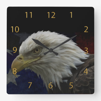 Patriotic Eagle & Flag Square Wall Clock