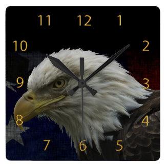 Patriotic Eagle & Flag Square Wall Clock