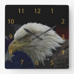 Patriotic Eagle & Flag Square Wallclock