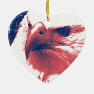 Patriotic Eagle - Grunge Art Christmas Ornament