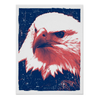 Patriotic Eagle - Grunge Art Print
