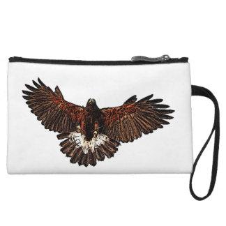 Patriotic Eagle Hawk in Flight Drawing Sketch Wristlet Wallet