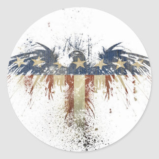 Patriotic eagle, US/USA, SAD flag Classic Round Sticker