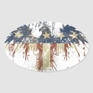Patriotic eagle, US/USA, SAD flag Oval Sticker