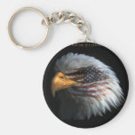 Patriotic Eagle with flag background Keychain