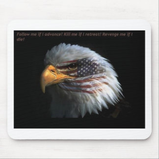 Patriotic Eagle with flag background Mouse Pads