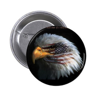 Patriotic Eagle with flag background Pinback Button