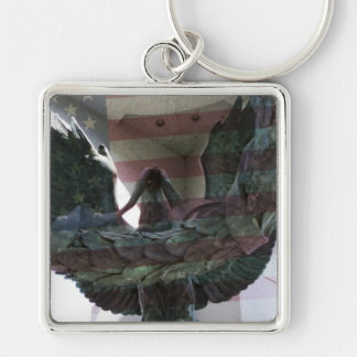 Patriotic Eagle with Flag Keychain