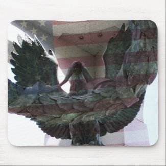 Patriotic Eagle with Flag mousepad