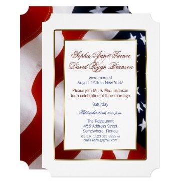 Patriotic, Elegant USA Flag Evening Wedding Card