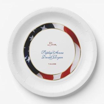 Patriotic, Elegant USA Flag Gold Engagement Paper Plate