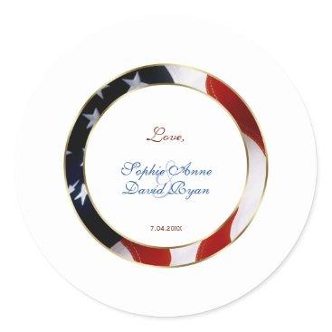 Patriotic, Elegant USA Flag Gold Frame Engagement Classic Round Sticker