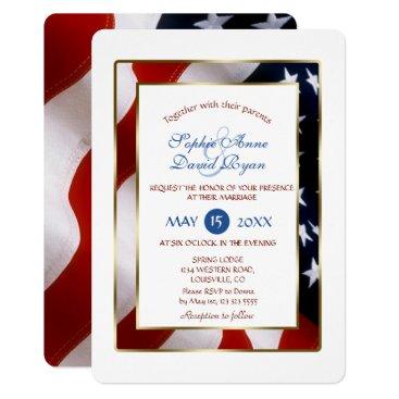 Patriotic, Elegant USA Flag Gold Frame Wedding Card
