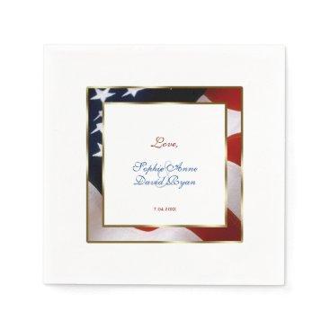 Patriotic, Elegant USA Flag Gold Frame Wedding Napkin