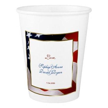 Patriotic, Elegant USA Flag Gold Frame Wedding Paper Cup