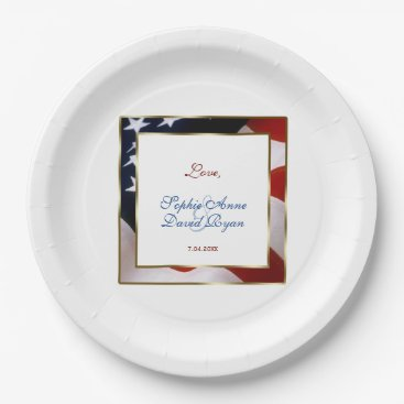 Patriotic, Elegant USA Flag Gold Frame Wedding Paper Plate
