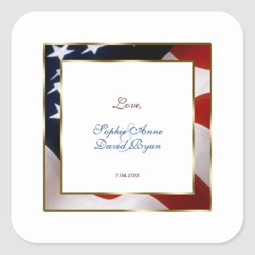 Patriotic, Elegant USA Flag Gold Frame Wedding Square Sticker