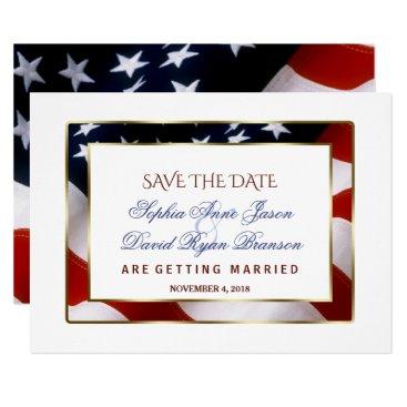 Patriotic, Elegant USA Flag Gold Save The Date Card