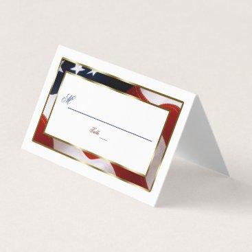 Patriotic, Elegant USA Flag Gold Table Number Place Card