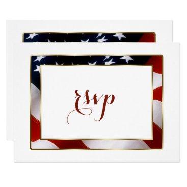 Patriotic, Elegant USA Flag Gold Wedding RSVP Card