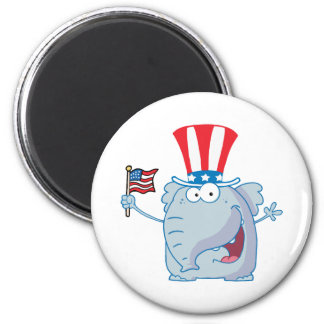 Patriotic Elephant Waving An American Flag 2 Inch Round Magnet