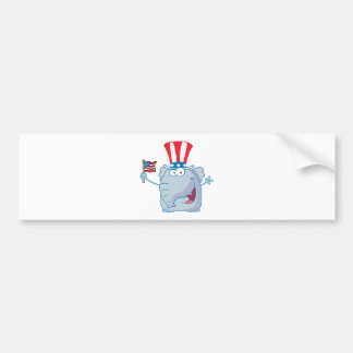 Patriotic Elephant Waving An American Flag Bumper Sticker