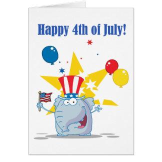 Patriotic Elephant Waving An American Flag Card