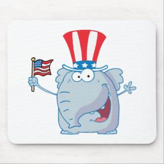 Patriotic Elephant Waving An American Flag Mouse Pad
