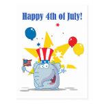 Patriotic Elephant Waving An American Flag Postcards
