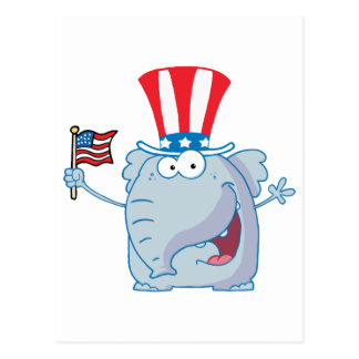 Patriotic Elephant Waving An American Flag Postcard