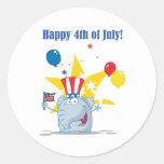 Patriotic Elephant Waving An American Flag Sticker
