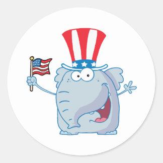 Patriotic Elephant Waving An American Flag Stickers