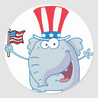Patriotic Elephant Waving An American Flag Round Stickers